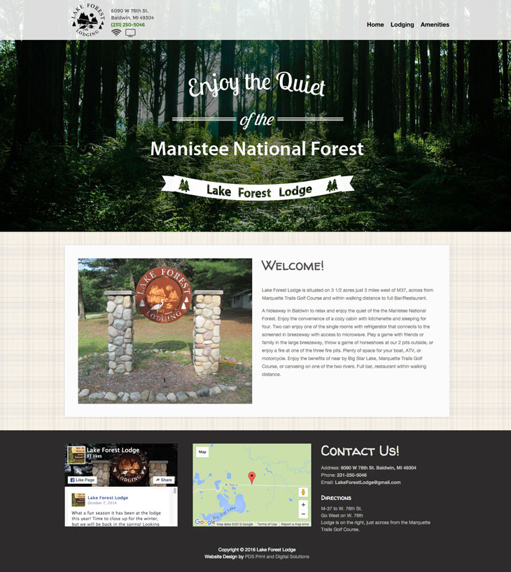lake forest lodge baldwin mi lake county website design - by PDS