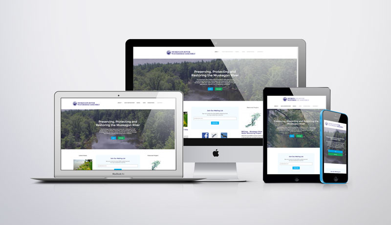 MRWA Muskegon River Watershed Assembly Michigan mobile responsive web design by PDS