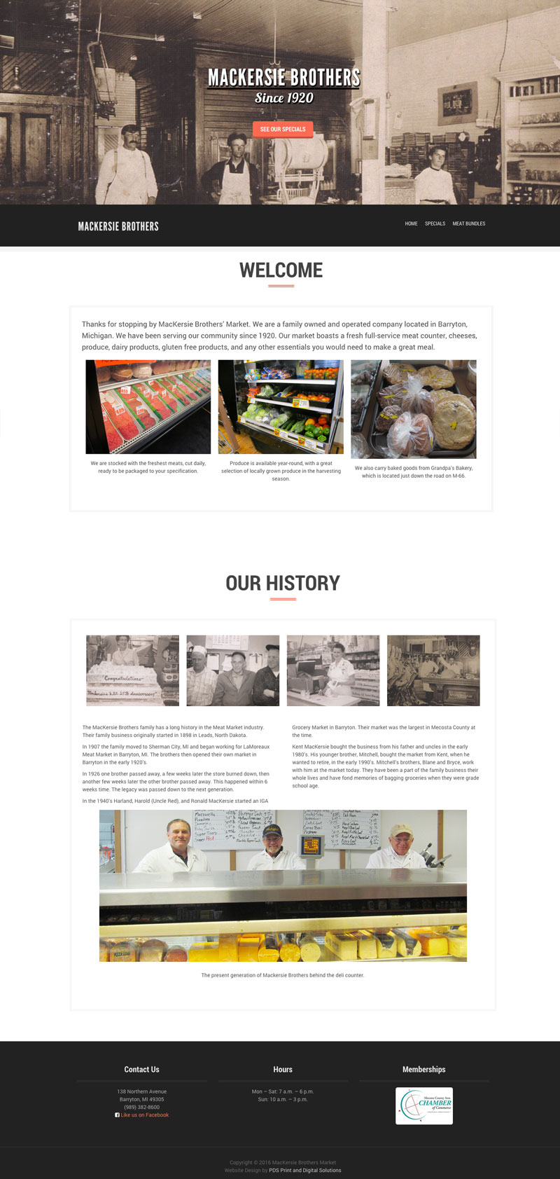 MacKersie Brother Meat Market in Barryton mi website design by PDS