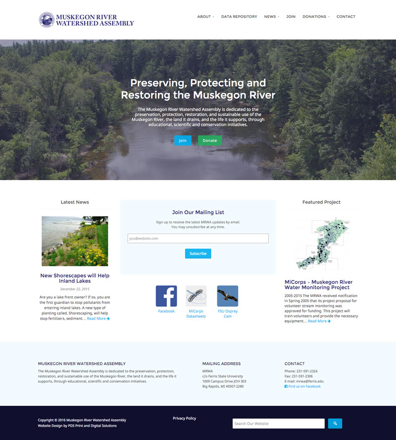 MRWA Muskegon River Watershed Assembly Michigan website design by PDS