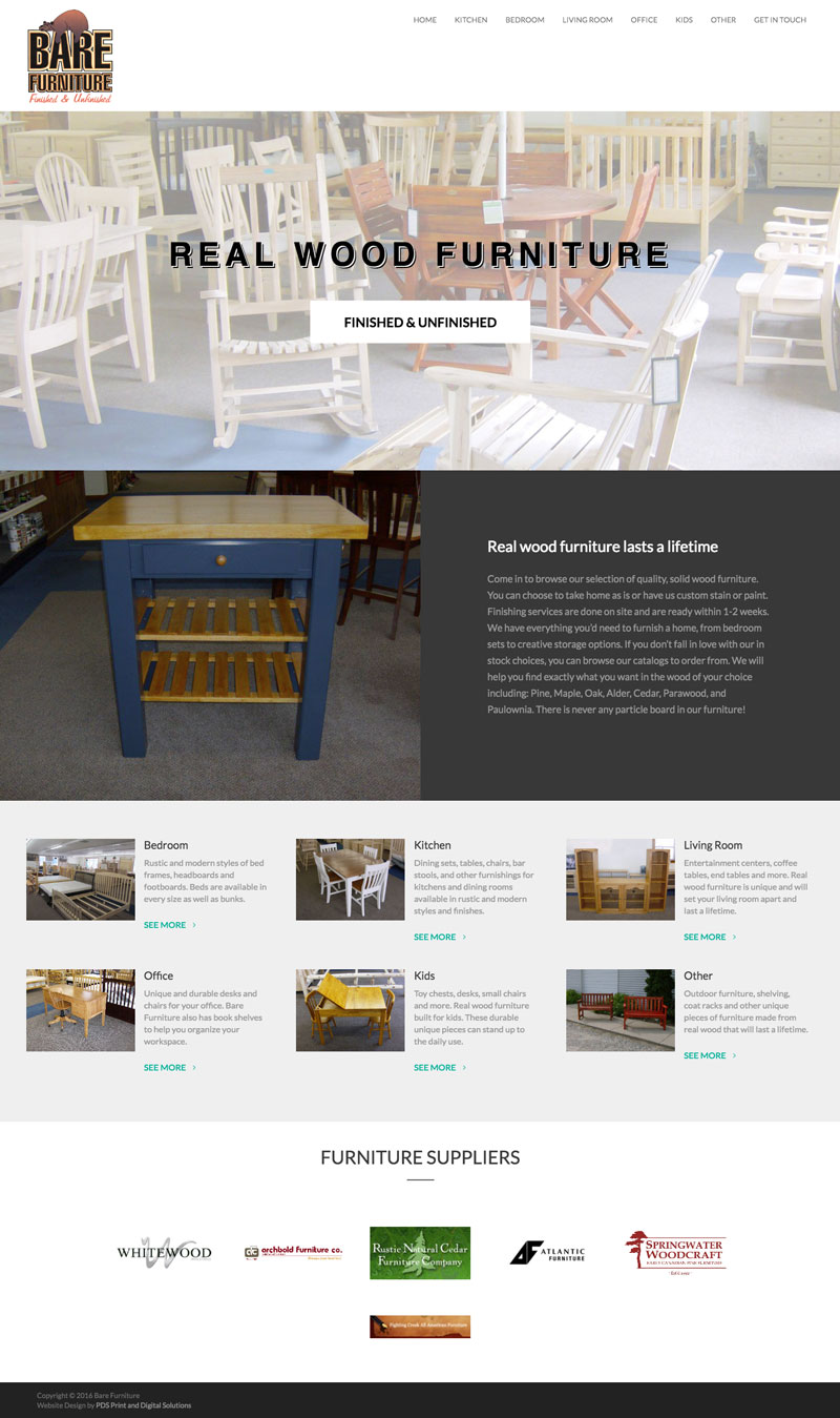 bar furniture big rapids mi website design by PDS Print and Digital Solutions Mecosta county website designer