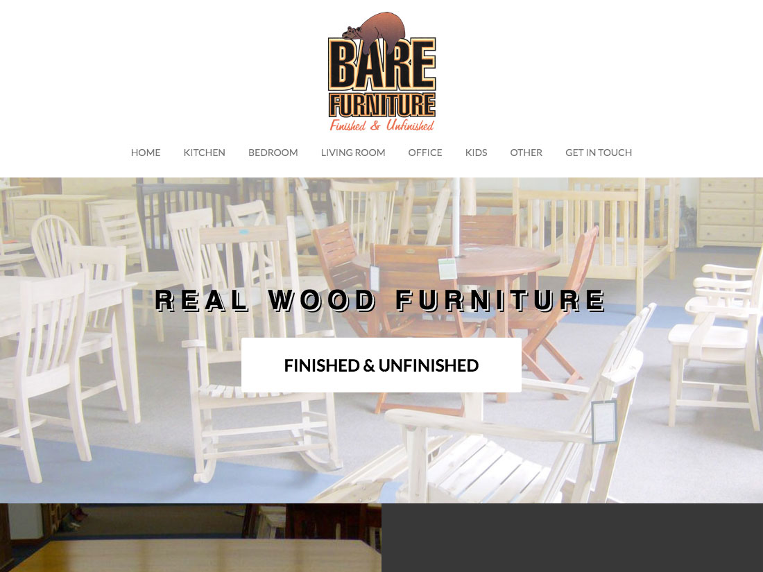 bare furniture home page of website - web design by local web company PDS print digital services big rapids mi